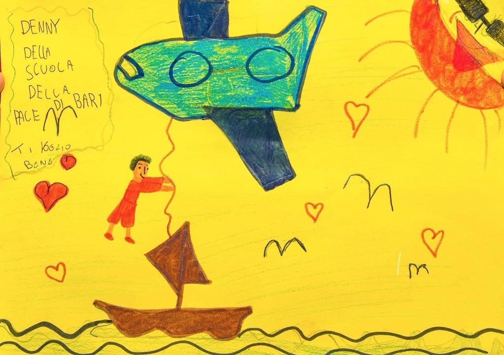 Disegno di Denny, bimbo della scuola della pace sul tema dei #corridoiumanitari